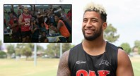 Kikau gifts footy gear in Fiji