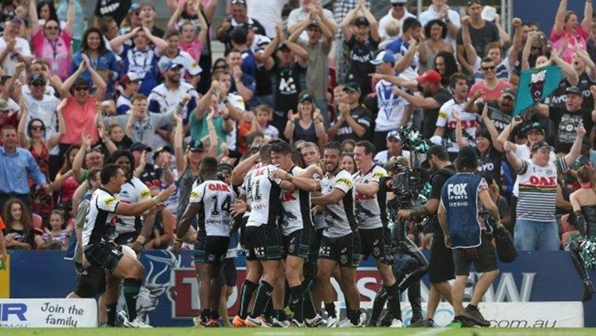 Digital Image by Robb Cox ©nrlphotos.com: Panthers celebrate after Matt Moylan kicks the winning goal on fulltime :NRL Rugby League - Round 3; Penrith Panthers Vs Canterbury-Bankstown Bulldogs at Sporting Bet Stadium,  Saturday the 22nd of March 2014 .