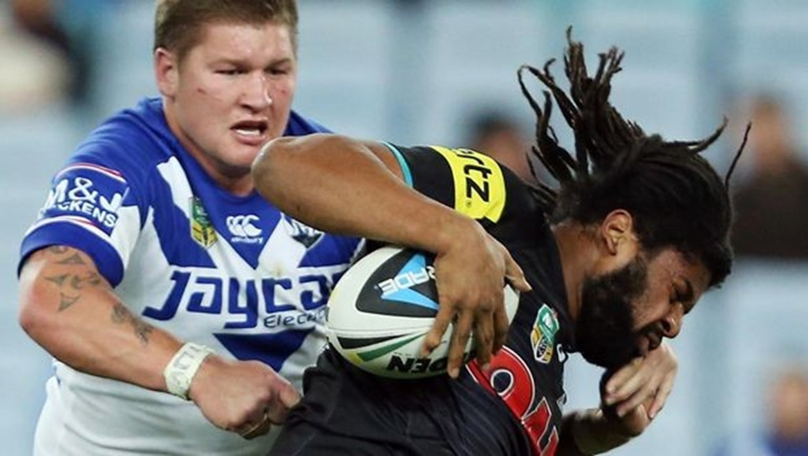 Digital Image by Robb Cox ©nrlphotos.com: Jamal Idris :NRL Rugby League - Round 21, Canterbury Bankstown Bulldogs V Penrith Panthers at ANZ Stadium, Friday August 1st 2014.