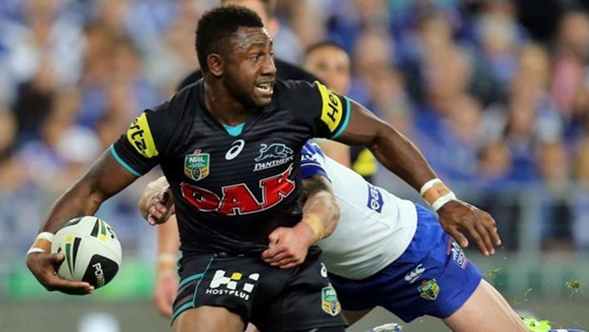 Digital Image Grant Trouville  © nrlphotos.com :  James Segeyaro attacks   : NRL Rugby League Prelim Final 2 - Penrith Panthers v Bulldogs at ANZ Stadium Sydney Saturday 27th of September 2014.