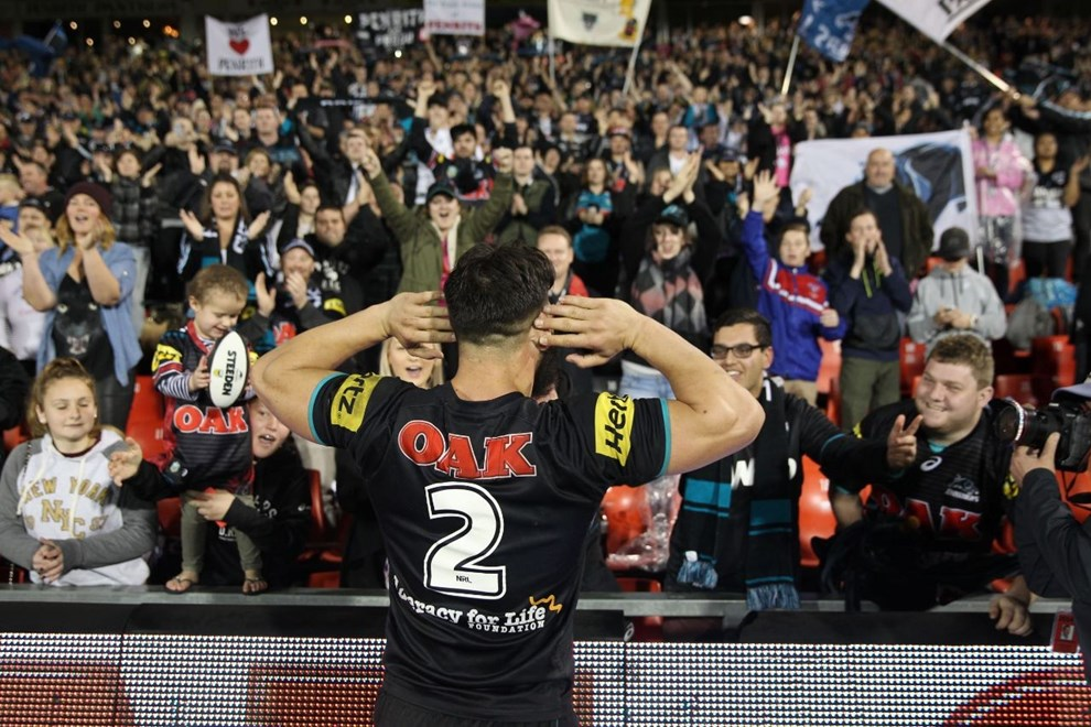 Digital Image Grant Trouville  © nrlphotos.com : Josh Mansour Celebrates  : NRL Rugby League Round 26 - Penrith Panthers v NZ Warriors at Penrith Stadium Sunday 7th of September 2014.