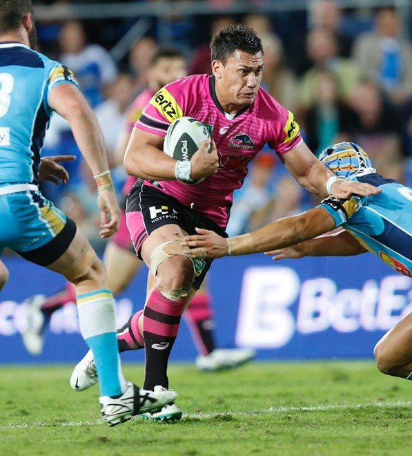 Photo by Charles Knight copyright nrlphotos.com : Elijah Taylor  -  NRL Rugby League, Round 13 Gold Coast Titans v Penrith Panthers at Cbus Stadium, Robina, Saturday June 7th 2014.