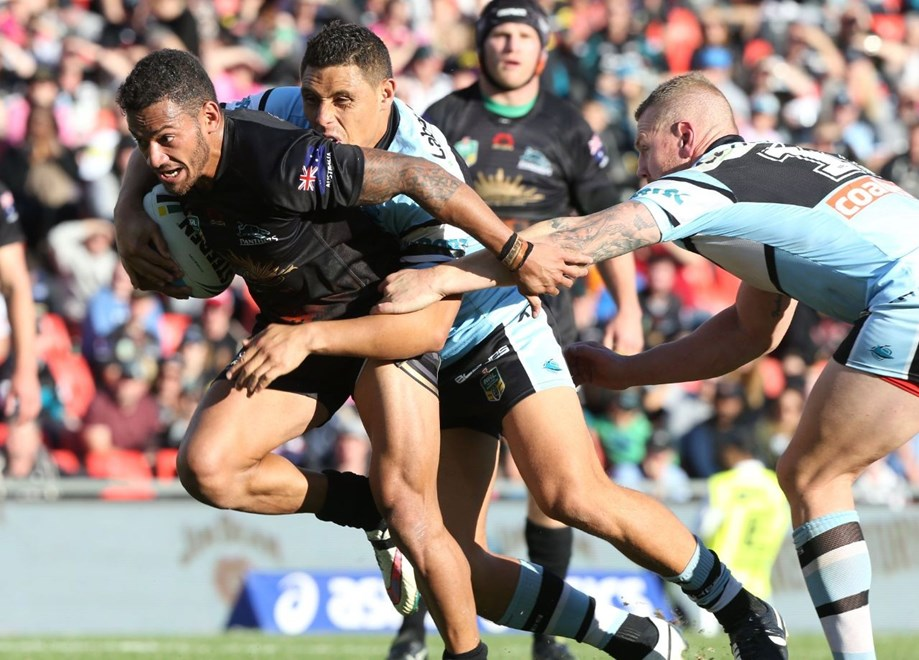 Digital Image by Anthony Johnson copyright nrlphotos.com: Api Koroisau: 2015 NYC  Round 8 - Penrith Panthers vs Cronulla Sharks at Pepper Stadium.