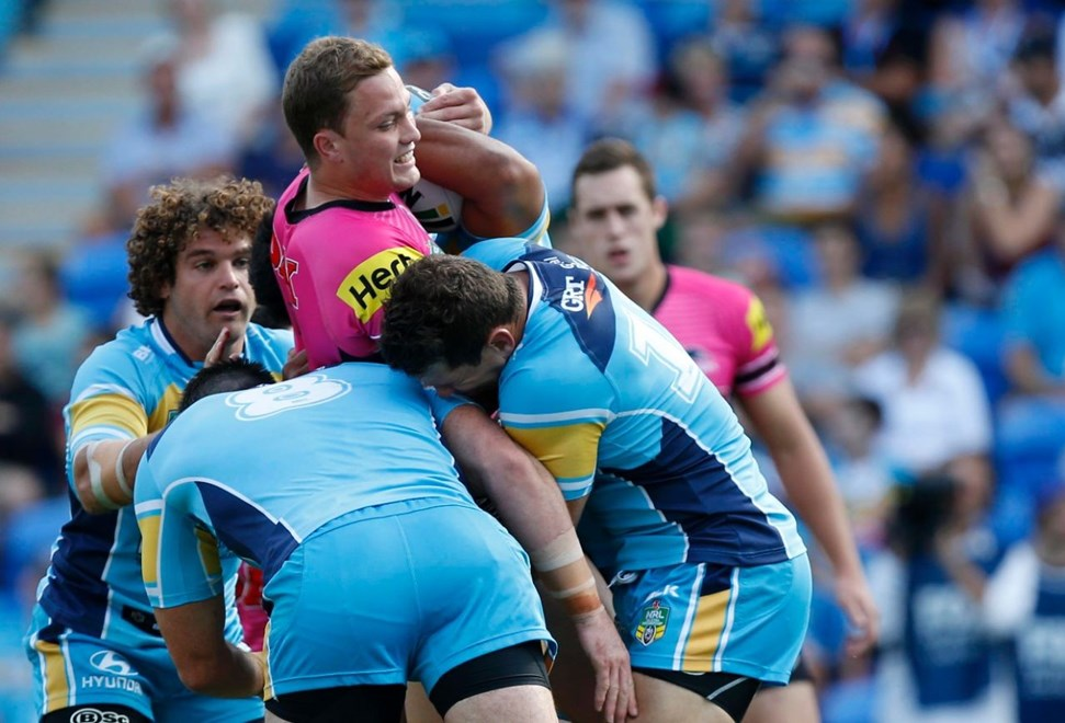 Matt Movlan : Digital Image Charles Knight © NRLphotos. NRL Rugby League, Gold Coast Titans v Penrith Panthers at Cbus Super Stadium, Gold Coast, April 18th 2015.