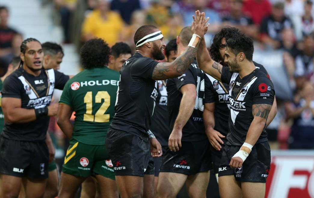 NZ Celebrate after Vatuvei scores his 2nd Try :Digital Image Grant Trouville © NRLphotos  : 2015 NRL REP Round - ANZAC TEST : AUSTRALIA v New Zealand at Suncorp Stadium Brisbane, Sunaday the 3rd 2015.