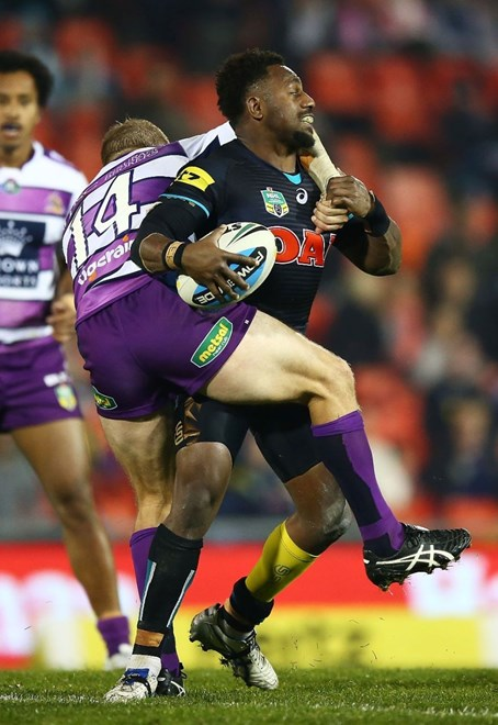 James Segeyaro of the Panthers during the round 13 NRL match between the Penrith Panthers and the Melbourne Storm at Pepper Stadium on June 6, 2015 in Penrith, Australia. Digital Image by Mark Nolan.