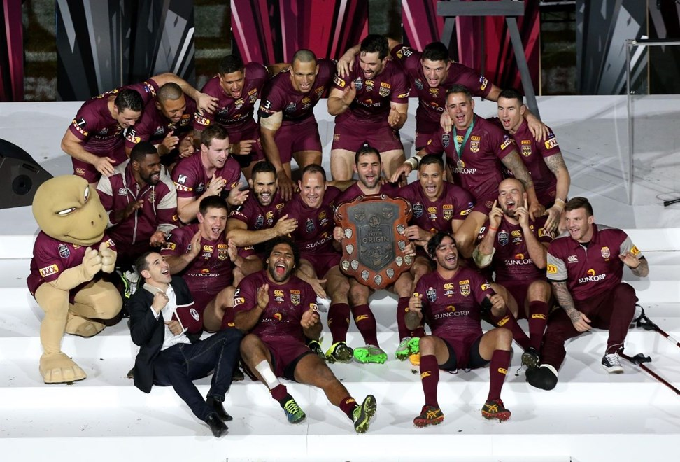 QLD Celebrate  : Digital Image Charles Knight © NRLphotos : NRL Rugby League State of Origin - Game 3 at Suncorp Stadium, Brisbane, Wednesday the 8th July  2015.