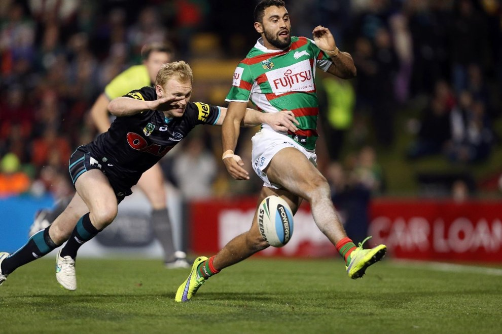 Peter Wallace about to pounce on a loose ball in the in-goal for a try :NRL Rugby League - Panthers V Rabbitohs, at Pepper Stadium, Friday July 3rd 2015. Digital Image by Robb Cox ©nrlphotos.com