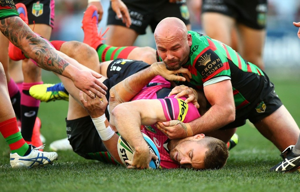Bryce Cartwright of the Panthers during the Round 21 NRL match between the South Sydney Rabbitohs and the Penrith Panthers and the South Sydney Rabbitohs at ANZ Stadium on August 2, 2015 in Sydney, Australia. Digital Image by Mark Nolan.