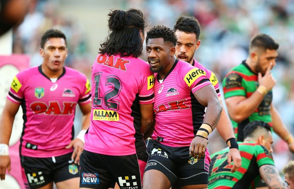 James Segeyaro of the Panthers during the Round 21 NRL match between the South Sydney Rabbitohs and the Penrith Panthers and the South Sydney Rabbitohs at ANZ Stadium on August 2, 2015 in Sydney, Australia. Digital Image by Mark Nolan.
