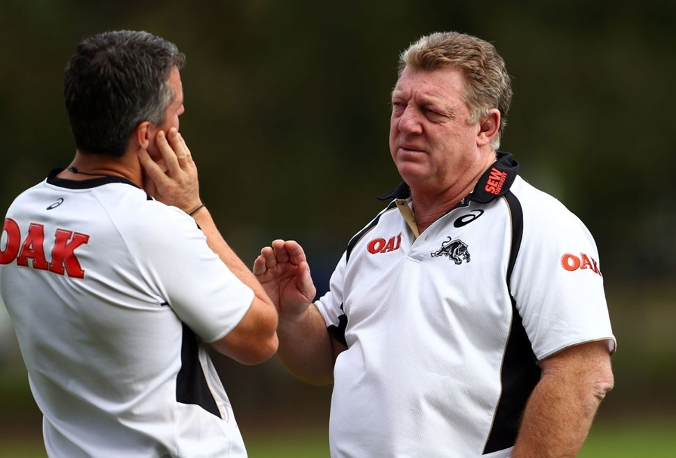 SYDNEY, AUSTRALIA - APRIL 15:  Phil Gould talks with coach Ivan Cleary during a Penrith Panthers NRL training session at Sportingbet Stadium on April 15, 2014 in Sydney, Australia.  (Photo by Renee McKay/Getty Images)