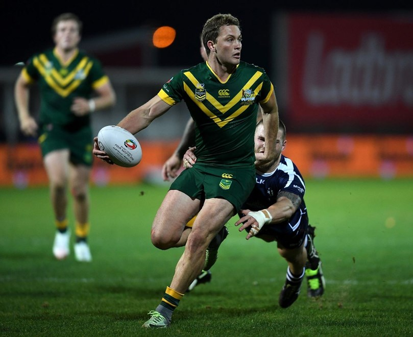 HULL, ENGLAND - OCTOBER 28: Matt Moylan of Australia in action during the Four Nations match between the Australian Kangaroos and Scotland at KCOM Lightstream Stadium on October 28, 2016 in Hull, United Kingdom.  (Photo by Laurence Griffiths/Getty Images)