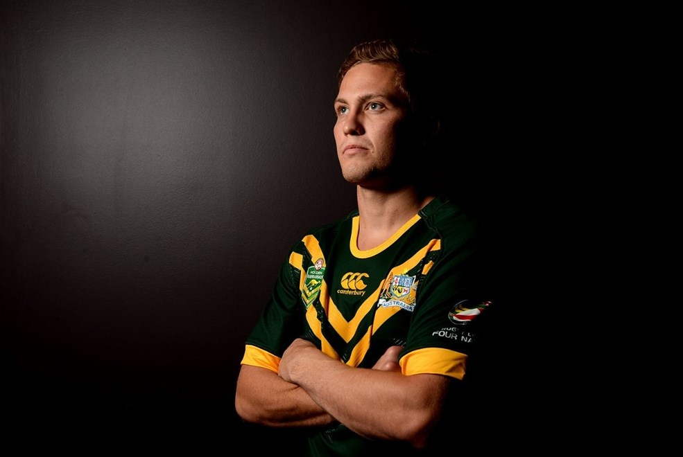 BRISBANE, AUSTRALIA - OCTOBER 17:  Matt Moylan poses for a photo during an Australian Kangaroos Four Nations media session at the Sofitel Hotel on October 17, 2014 in Brisbane, Australia.  (Photo by Bradley Kanaris/Getty Images)