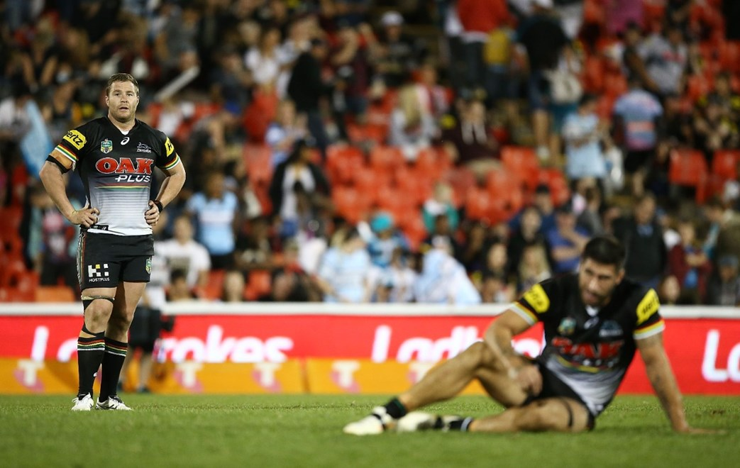 during the round seven NRL match between the Penrith Panthers and the Cronulla Sharks at Pepper Stadium on April 16