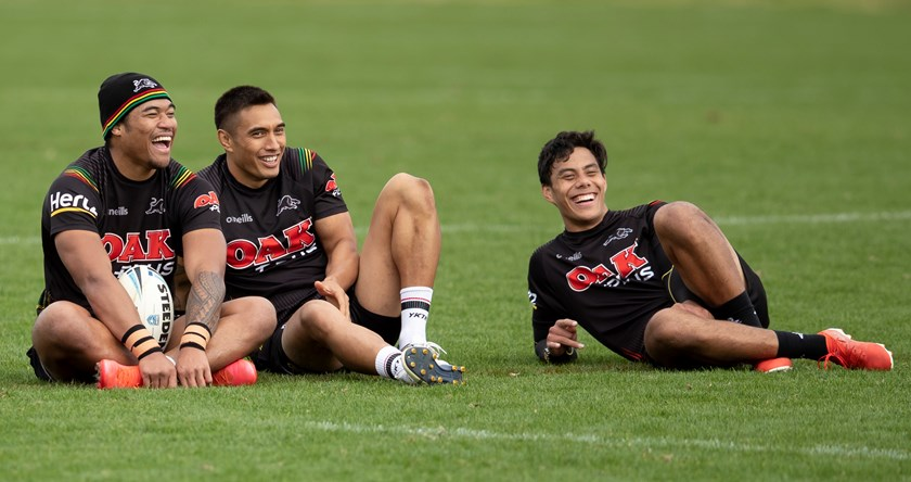 Brian To'o, Dean Whare and Jarome Luai at Panthers training.