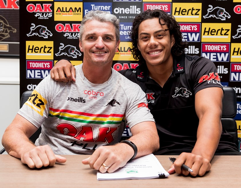 Panthers coach Ivan Cleary with Jarome Luai.